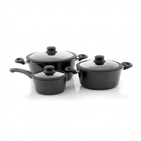 3PC  STONEWARE STOVE TOP PAN WITH SILICON LID