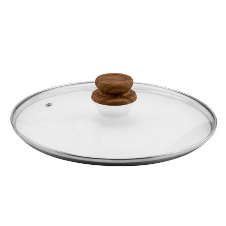 Copper Stone Pan Glass Lid 28 cm